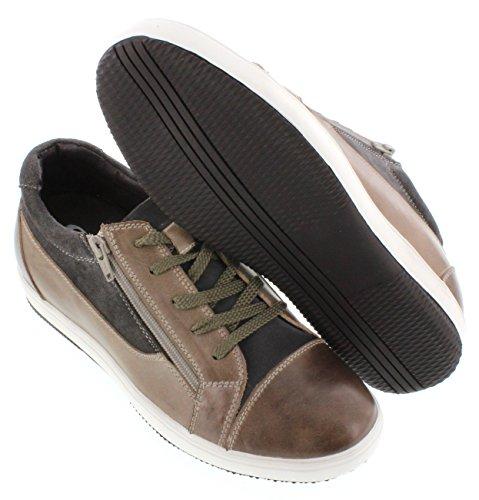calto–g36096,1cm größer die Höhe Steigerung Aufzug shoes-grey/braun Schnürschuh Casual