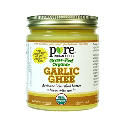 Organic Grass Fed Garlic Ghee - by Pure Indian Foods - Clarified Butter, Pasture Raised, Non-GMO, Gluten Free, Made in USA, Paleo & Keto Friendly, 7.8 oz