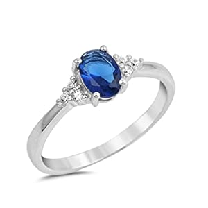 Wedding Engagement Ring Oval Cut Blue Simulated Sapphire Round Cubic Zirconia 925 Sterling Silver