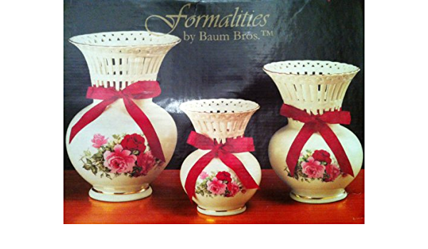 Amazon Com Formalities By Baum Bros Latticework Vases Victorian Rose Collection Set Of 3 Home Kitchen