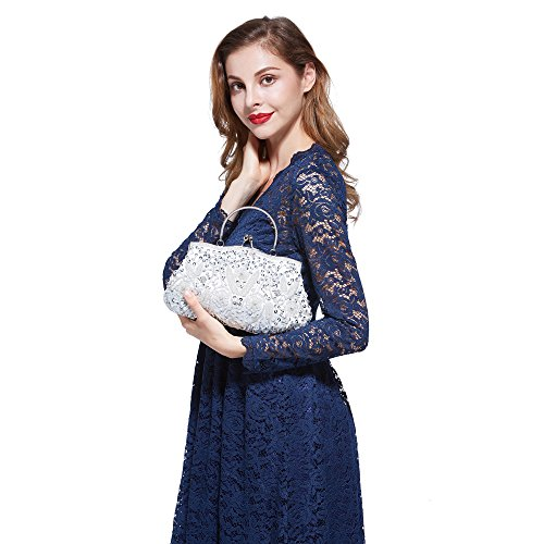 Exquisite Gift Bag Floral Clutch Bead Seed Seed Sequined Bead MASEE Ideas Antique Collection Soft Clutch Colors White Sequin VENI Evening Leaf Evening Various Handbag HtnPvwSqx