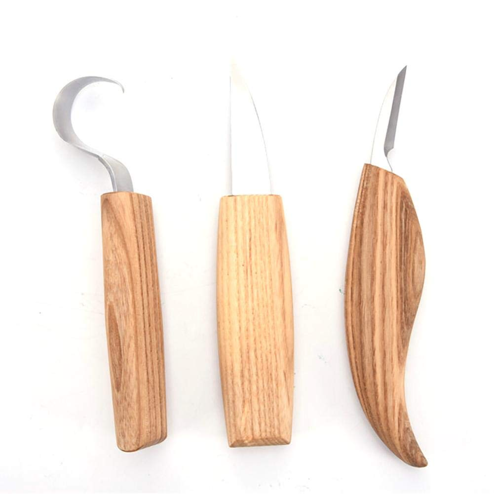 Seasaleshop Outil de Sculpture sur Bois Set 3pcs DIY Sculpture Bois Artisanat Outils pour Dé butants Amateurs Sculpteur Charpentier Cuillè re Set de Sculpture