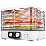 Kitchen & Housewares : Aicok Food Dehydrator Machine, Electric Fruit and Vegetable Dryer 5 Stackable for Food Preserver, Meat or Beef Jerky Maker, with Time and Temperature Control, Noiseless and Lightweight, White