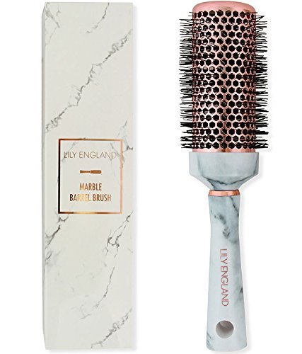 Lily England Round Brush for Blow Drying - Barrel Radial Hairbrush Marble & Rose Gold