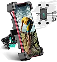 Bike Phone Mount, TEUMI Detachable 360° Rotation Motorcycle Phone Mount, Stainless Steel Phone Holder for Bike