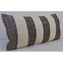 12x24 Sofa Kilim Lumbar Pillow Cover, Vintage Woven Farmhouse Long Kelim Cushion