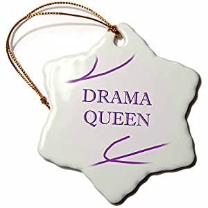 3drose Drama Queen Snowflake Porcelain Ornament, 3-Inch