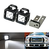 iJDMTOY (2) CREE High Power LED Fog Light Kit w/ Bumper Metal Mounting Brackets & Wirings/Switch For 2015-up Ford F-150 XLT Lariat or Limited