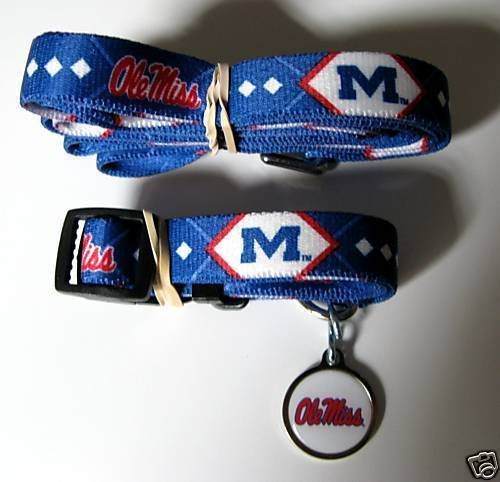 Mississippi Ole Miss Rebels Dog Pet Set Leash Collar ID Tag XS