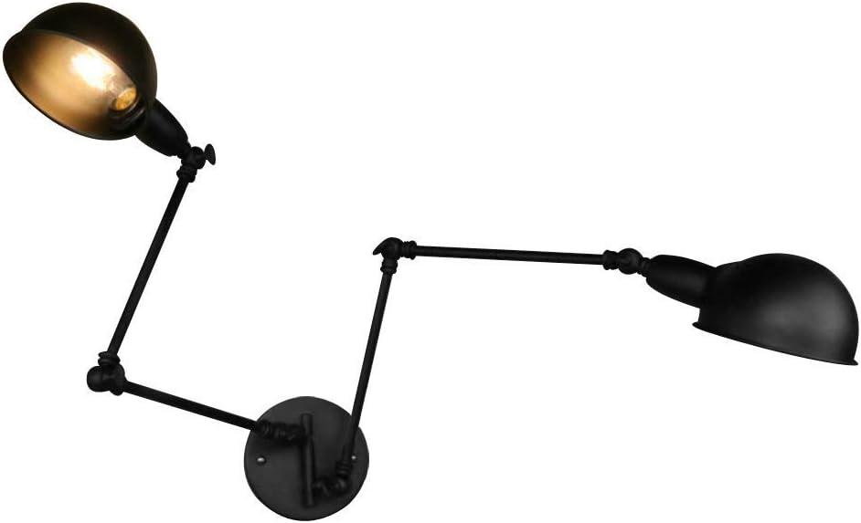TRADE® Negro Retro Ajustable Lámpara de pared Industrial Estilo Hierro forjado Brazo largo Lámpara de pared Brazo oscilante Luces de pared (2 juegos)