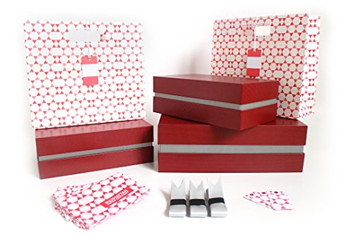 Fancy Red Canvas Gift Box Kit - 5 Pieces | 3 Boxes and 2 Gift Bags, Tissue Paper, & Cards | 1 Large & 2 Med Boxes & 2 Bags | Large: 12.5x10.5x3.75 in | Medium: 10.25x6x3.25 in (Miami Silver) (Manhattan Scarf Company compare prices)
