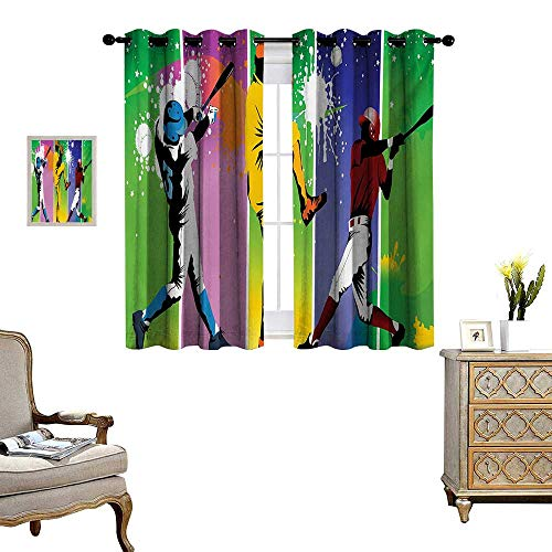 Baseball Patterned Drape for Glass Door Players in Different Positions in Playground Action Catcher Pitcher Modern Sports Waterproof Window Curtain W55 x L72 Multicolor