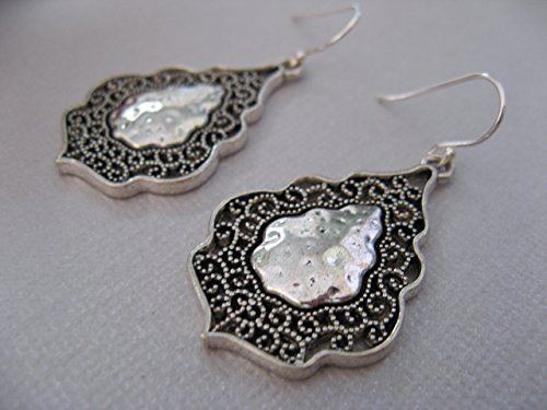 Silver Artisan Filigree Earrings - Mixed Metals Filigree Danging Earrings on Sterling Silver Earring Wires Artisan Jewelry
