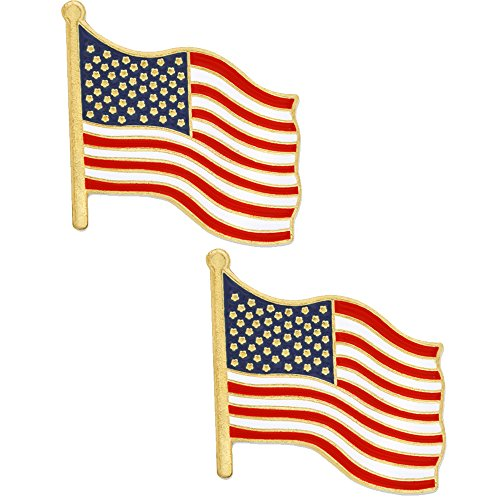 PinMart's BUY ONE GET ONE FREE American Flag Patriotic Enamel Lapel Pin Lapel Womens Pins