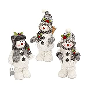 "Gerson 16""H Plush Holiday Standing Snowman w/ Hat & Scarf"