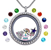 Beffy Girl's Happy Birthday Gift & Teen Girl Gift, 30mm Round Floating Living Memory Charm Lockets Necklace