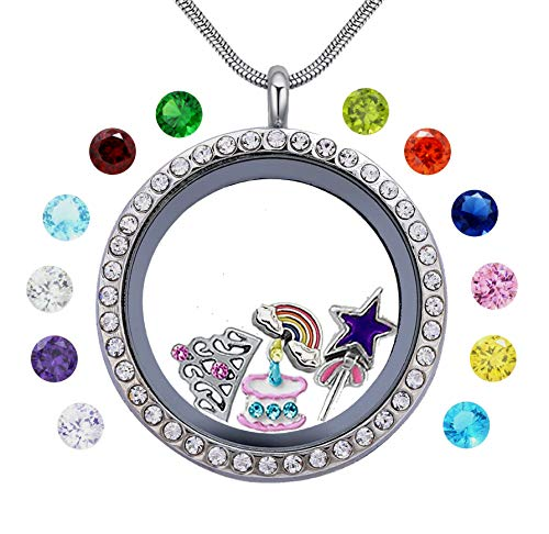 beffy Girl's Happy Birthday Gift & Teen Girl Gift, 30mm Round Floating Living Memory Charm Lockets Necklace (Cake Ideas For 15 Yr Old Girl)