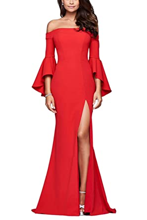 2351e177a8f1 Women Cocktial Dress Long Sleeve Off Shoulder Slit Maxi Dresses at ...
