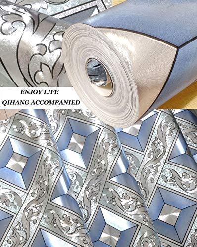 QIHANG Luxury Silver Foil Mosaic Square Lattice Background Flicker Wallpaper Gold Leaf Wallpaper Modern Roll/hotel Ceiling/decorative Wallpaper Roll Silver&Blue Color 1.73' W x 32.8' L=57 sq.ft by QIHANG (Image #2)