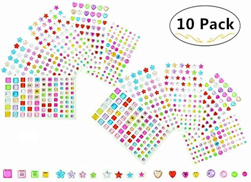 Magnolora 5 Shapes 10 Sheets Self-adhesive Rhinestone Sticker Multicolor Crystal Diamond Gem Sticker Sheets for Scrapbooking Embellishments and Crafts, Approx. 840 Pieces