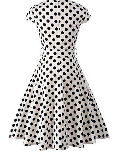 HUINI Polka Dots Vintage Kleid 50er Audrey Hepburn Retro Rockabilly Swing  Kleid mit Punkten Kurzarm Rundhalsausschnitt ... 80129c4813