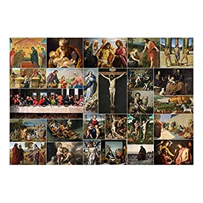 Wonderful Style, Peel and Stick Wallpapaer Bible Stories Christian Paintings Collage Removable Large Wall Mural Creative Wall Decal, Professional Creation