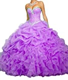 Meilishuo Women's Sweetheart Big Ruffles Beading Quinceanera Dresses with Jacket Prom Party Ball Gown 2017