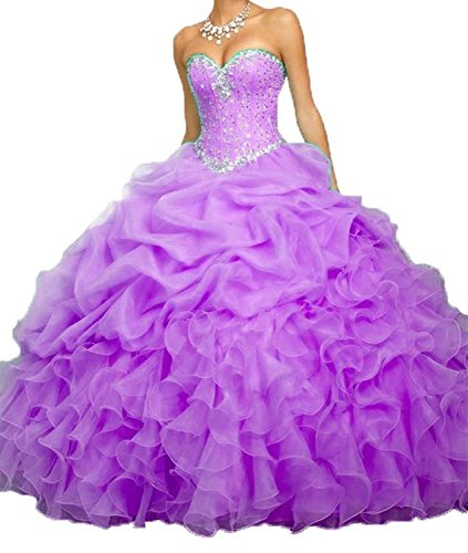 Meilishuo Women's Sweetheart Big Ruffles Beading Quinceanera Dresses with Jacket Prom Party Ball Gown (Big Poofy Dresses)