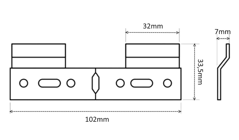 AERZETIX 10x Placa trasera de fijaci/ón para colgar armarios muebles de pared 102//33.5mm C41529