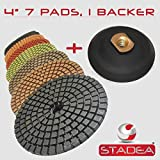 STADEA Premium Grade Wet 4'' Diamond Polishing Pads Set + Rubber Backer For GRANITE MARBLE STONE