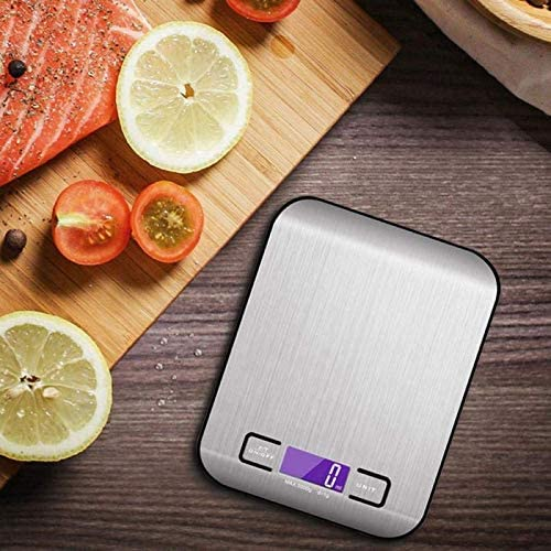 FLXi Kitchen Weighing Scales Digital - Electronic Food Scales Bowl – Retro Stainless Steel – Ultra Slim Easy Clean Design – 5Kg.