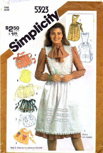 (Simplicity 5323 Vintage Sewing Pattern Misses Full and Half Aprons)