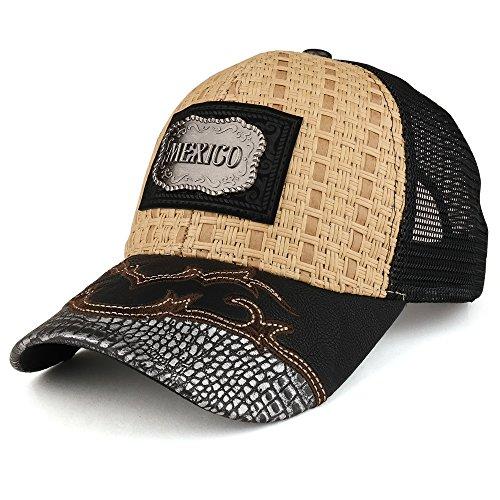 Trendy Apparel Shop Straw Design Metallic Mexico Logo Badge Trucker Mesh Baseball Cap