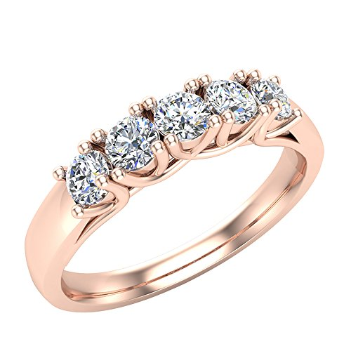 14K Rose Gold Five-Stone Wedding Band Classic Trellis Setting Diamond Ring 0.50 ct tw (Ring Size - Stone Gold Rose 5