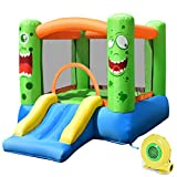 Costzon Inflatable Bounce House, Castle Jump and Slide Bouncer with Oxford Mesh Wall, Ideal for Indoor & Outdoor Use, Including Oxford Carrying Bag, Repair Kit, Stakes, 480W Air Blower, Green