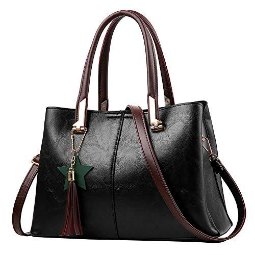 Sac à main en cuir avec sac à bandoulière noir de grande capacité