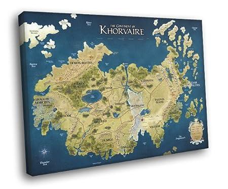 HV0871 Du0026D Eberron Map Khorvaire Fantasy Art Dungeons U0026 Dragons 16x12  FRAMED CANVAS Print