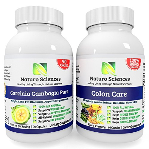Garcinia Cambogia and Colon Care Combo - By Naturo Sciences - Ultimate Weight Loss Solution Combo Set - Colon Care - Super Strength Diet Detox for the Body and Brain - 1800mg Proprietary Blend Per Serving 30 Servings 60 Capsules - PLUS - Garcinia Cam...