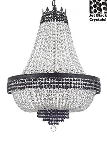 "French Empire Crystal Chandelier Chandeliers Lighting Trimmed with Jet Black With Dark Antique Finish! H30"" X W24"" Good for Dining Room, Foyer, Entryway, Family Room and More! -"