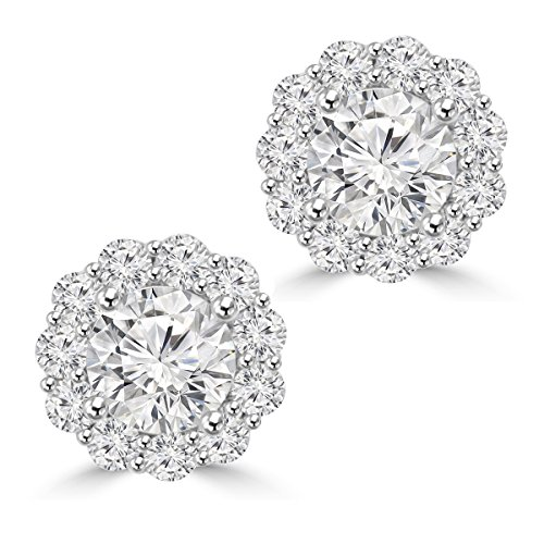 Diamond Tiffany Style Earrings - 2.05 Ct Ladies Round Cut Diamond Stud Earring In 14 kt White Gold