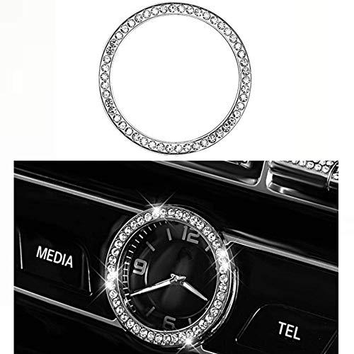 YUWATON Car Interior Clock Watches 3D Rhinestone Decals Ring fit for Mercedes Benz Bling Accessories C Class E Class S Class GLC CLS (Round Clock)
