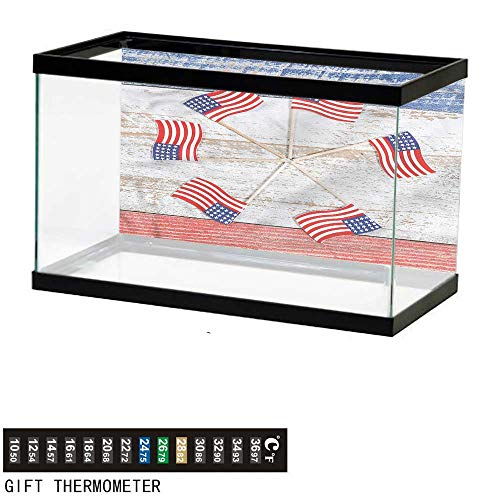(bybyhome Fish Tank Backdrop 4th of July,USA Flags in a Pinwheel,Aquarium Background,48