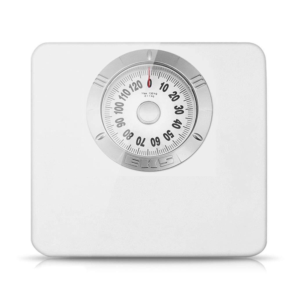 機械式バスルームスケール - レトロで正確な体重計、読みやすいアナログダイヤル、頑丈な金属製プラットフォーム、最大130 Kg、ボタンもバッテリーもなし B07QG71NBS  White White