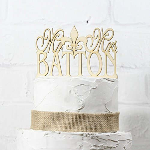 Fleur Blocks De Lis - Rustic Wedding Cake Topper Monogram Mr Fleur de Lis Mrs Topper New Orleans Design Custom Personalized with YOUR Last Name Paintable Stainable Wood