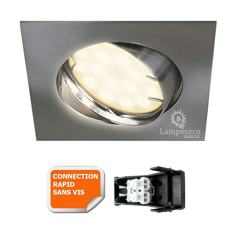 SPOT ENCASTRABLE ORIENTABLE LED CARRE ALU BROSSE GU10 230V eq. 50W BLANC CHAUD Lampesecoenergie