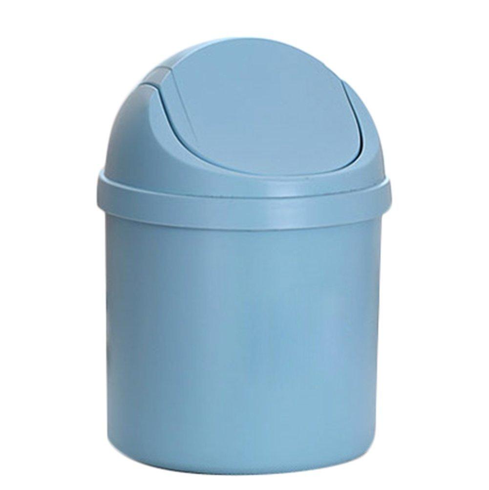 Topdo 4 Colors Fashion Desktop Trash Can Plastic Countertop Trash Bin Can Rubbish Bin with Swing Lid-Blue