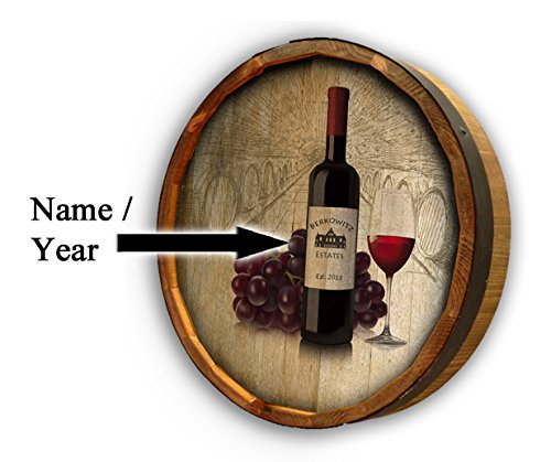 Personalized Wine Bottle with Grapes Quarter Barrel Sign by Thousand Oaks Barrel Co. (Image #1)