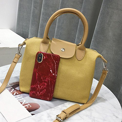Shoulder Women Shopping Messenger Casual Yellow Ecotrump Handbag Canvas Bag Totes Crossbody qBw4Cpx7