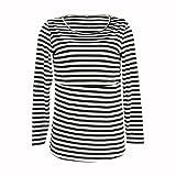 Software : kaifongfu Women Pregnant Top, Striped Maternity Nursing Breastfeeding Pregnant Long Sleeve Blouse (Black, M)