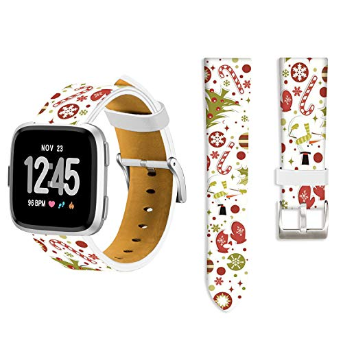 Christmas Bands for Fitbit Versa,Ecute Replacement Soft Genuine Leather Strap Bands for Fitbit Versa SmartWatch - Snowman with Gift